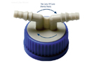 DURAN® GL45 Screwcap Connection System, with 2 x Curved Hose Connections<br>GL45 Bottle용 2 x Connection 스크류 캡, Ideal for id.Φ6~9mm Tubing, 140℃내열, PP